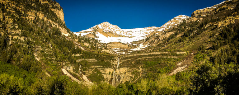 Stewart Falls and Mount Timpanogos view from Sundance Mountain Resort, Provo Canyon, Utah